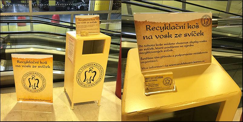 Recyklační koš na zbytky ze svíček, jak třídit odpad, jak třídit, třídění odpadu, parafín, vosk, Andělská svíčkárna, Recycling bin, how to sort waste F12