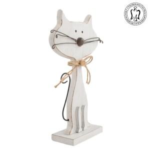 Dřevěná kočka bílá - dekorace, Andělská svíčkárna, dekorace Praha, Wooden cat whote, decoration, Prague, Angels candles 02