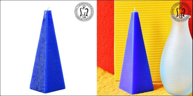 Modrý jehlan, svíčky, svíčky Praha, Andělská svíčkárna, Blue pyramid, candles Prague, Angels candles 01