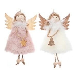 Plyšový anděl na pověšení, růžový, bílý, Andělská svíčkárna, Plush angel hanging, pink, white, angels candles