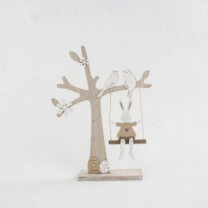 Velikonoční dekorace, velikonoční výzdoba, dřevěný strom s houpačkou, zajíček, Easter decoration, wooden tree with swing, bunny