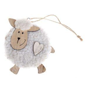 Velikonoční dekorace - Dřevěná závěsná ovečka - bílá