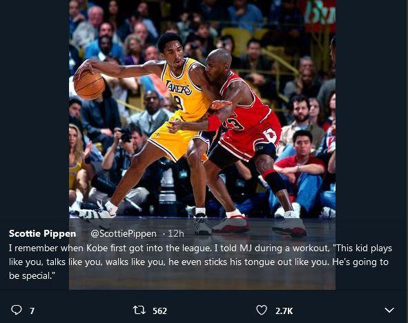 Scottie Pippen, Kobe Bryant, Michael Jordan
