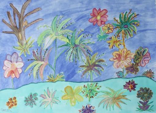 Bloemen regenval