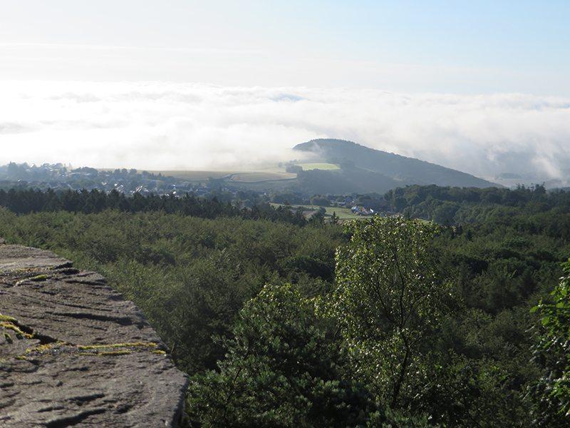 Blick von der Mörschieder Burr, Blick Richtung Süden, das Tal liegt noch im Nebel (Foto: Hans-Joachim Schneider)