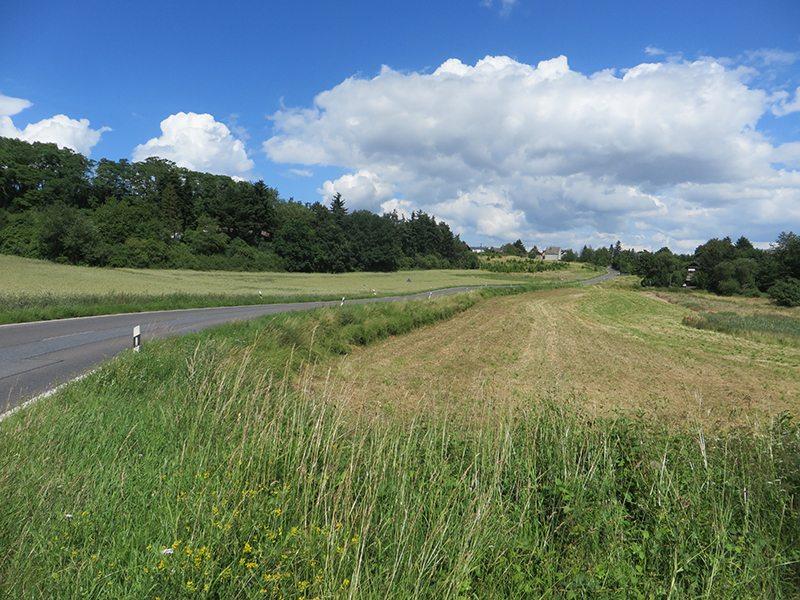 Die Straße nach Bell – darüber blauer HImmel, weiße Wolken, links und rechts das Sommergrün