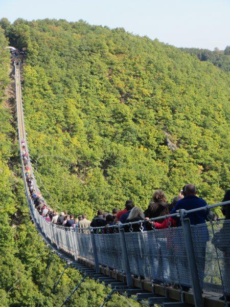 Hängeseilbrücke Geierlay, Viele, viele Besucher waren am Eröffnungstag da. Fast alle waren begeister