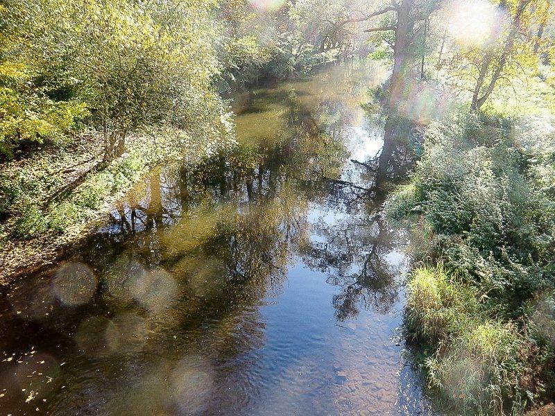 Wasser, Fluss, Ahr, Büsche, Dunst, Lichtreflexe auf der Ahr bei der Überschreitung auf dem Ahrsteig blau