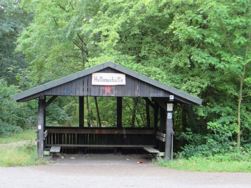 Schutzhütte, Wanderhütte, Huttanushütte, Brühler Seenplatte, grün, Wald