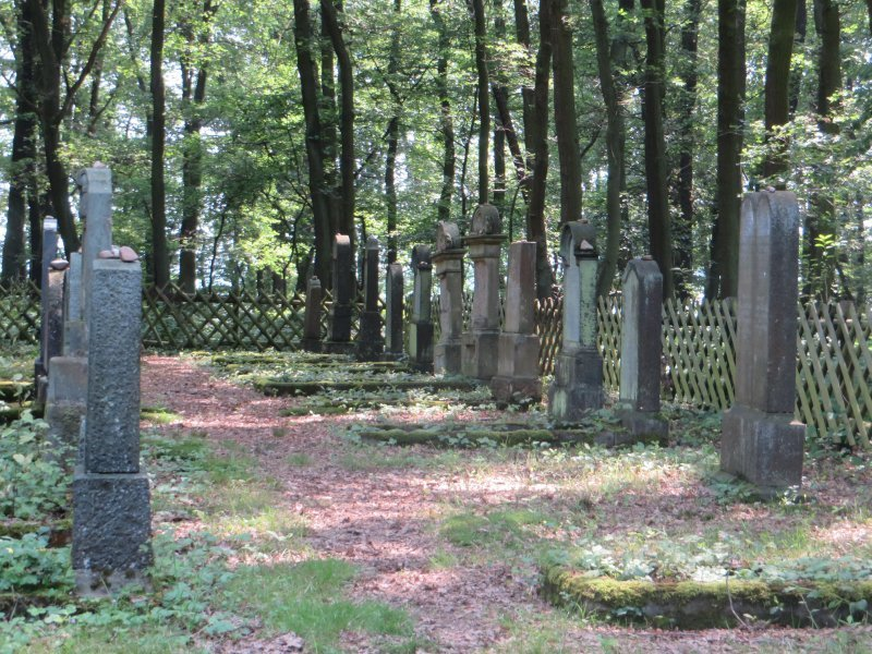 Friedhof, Wald, Waldfriedhof, Grabsteine, Steinkreuze: Beschaulicher Platz am Rheinburgenweg, der alte jüdische Friedhof von Rhens