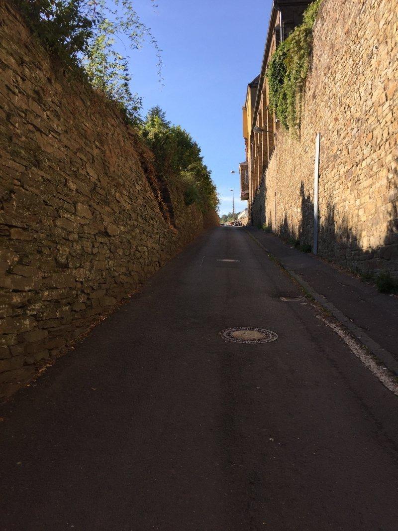 Auf dem sonnenbeschienen Weg am Kloster vorbei auch das ist Ahrtal erleben