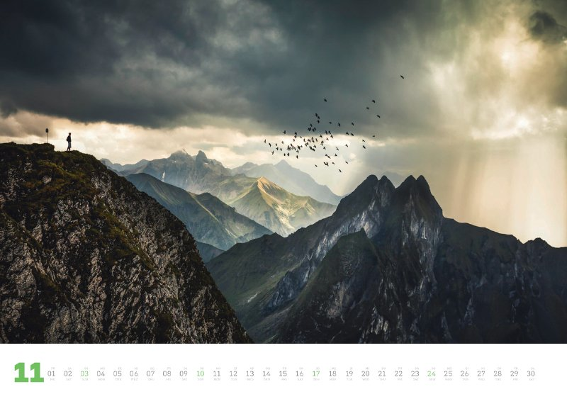 Wanderlust 2019, hier das Novemberblatt: Allgäuer Alpen (Fotograf: Alexander Fuchs, fuxographie)