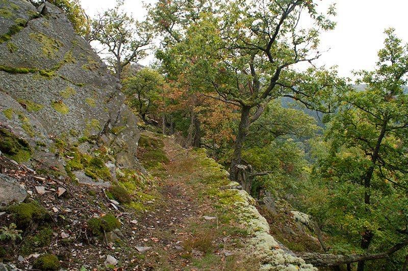 Ein schmaler Felsenpfad führt um eine Wegbiegung: Für einen winzig-kleinen Moment wähne ich mich in einem japanischen Samurai-Film (Foto: H.-J. Schneider)