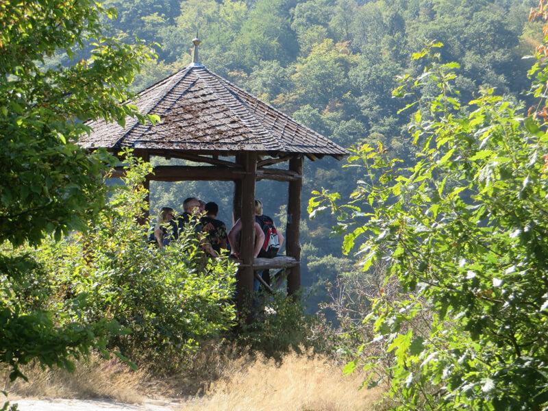 LInks und rechts sind grüne Bäume und Sträucher zu sehen, ein wenig versteckt hinter dem Grün ein Aussichtspavillon mit fünf oder sechs Leuten. Ein Hang im Hintergrund ist ganz mit Wald bestanden.