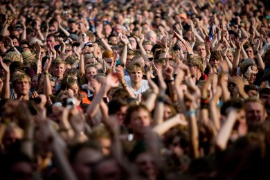 """ARCTIC MONKEYS plays at Roskilde. Danish rock festival """"The Roskilde Festival"""" open the gates for the 90.000 guests at the week long festival. Major names include; Portishead, PJ Harvey, Kings Of Leon, Arctic Monkeys, Iron Maiden, M.I.A., The Strokes"""