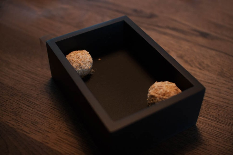 An amuse-bouche to start off the meal. Cauliflower, oyster cream, and chocolate praline. The first contrast of the meal. Savory and sweet at the same time. A great combination.