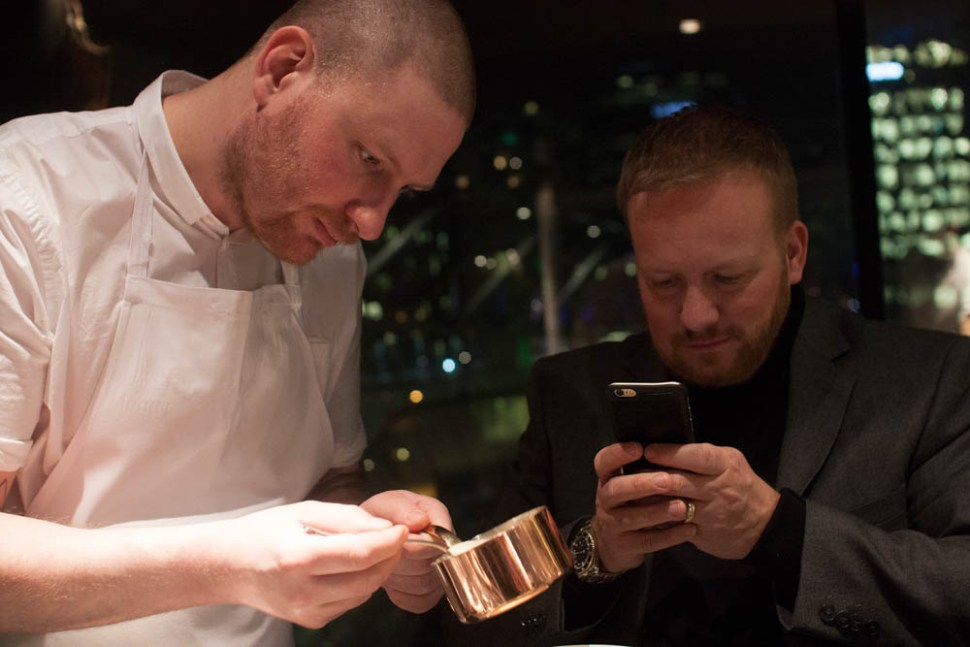 Head chef Esben Holmboe Bang came out to plate some dishes.