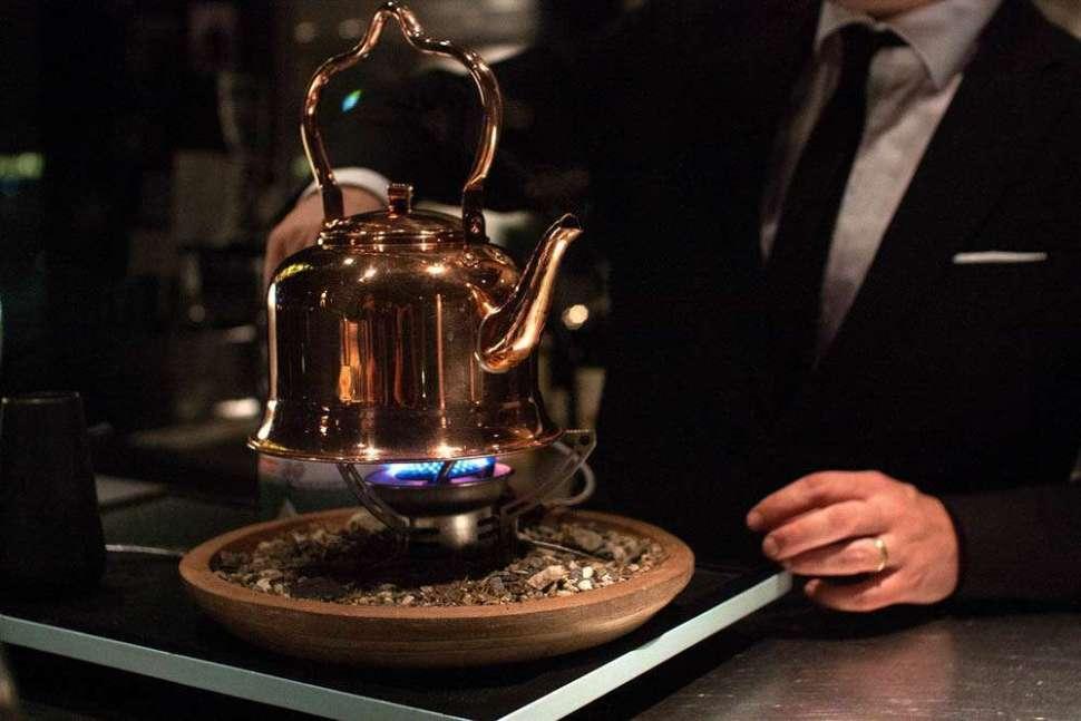 Tim Wendelboe, Finca Tamana, brewed in an old school coffee brewing kettle.