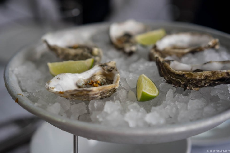 """Oysters, Fine de Claire, at Fisketorget with an asian sauce. Their 30 kr """"Gladmat"""" dish. Very tasty, but not super creative of course."""