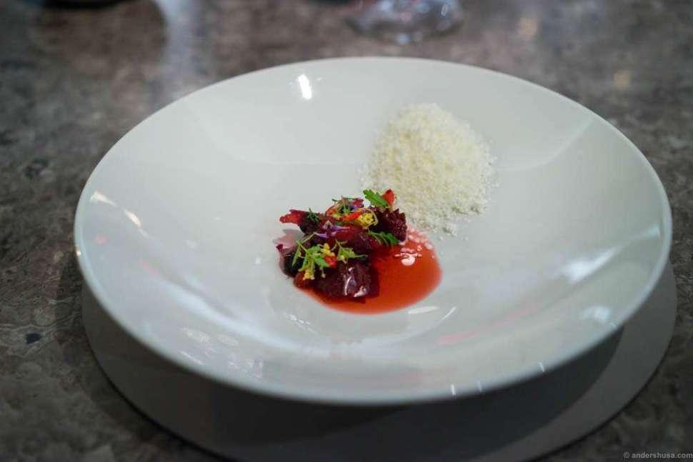 Flora of grilled raspberries, rose hip, and elderflower with frozen sheep yoghurt.