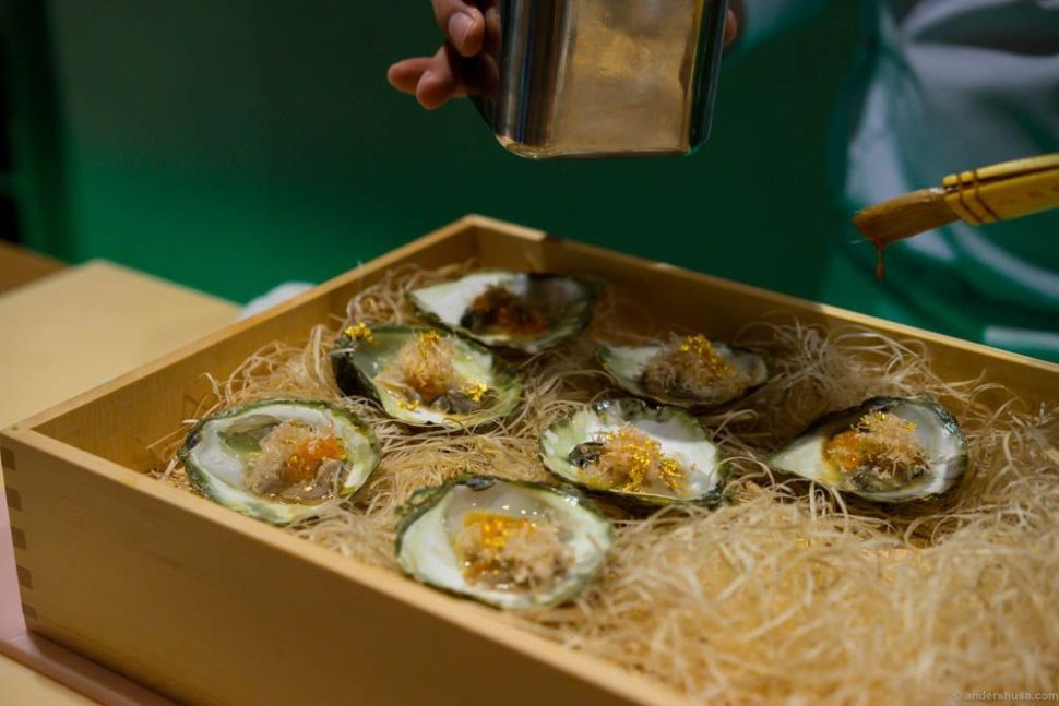 Oysters from Lysefjorden with lumpfish roe, lemon infused trout roe, soya, yuzu, bonito flakes and gold!