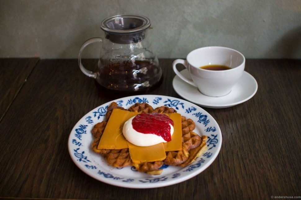 Classic Norwegian waffle with brown cheese, sour cream and jam.