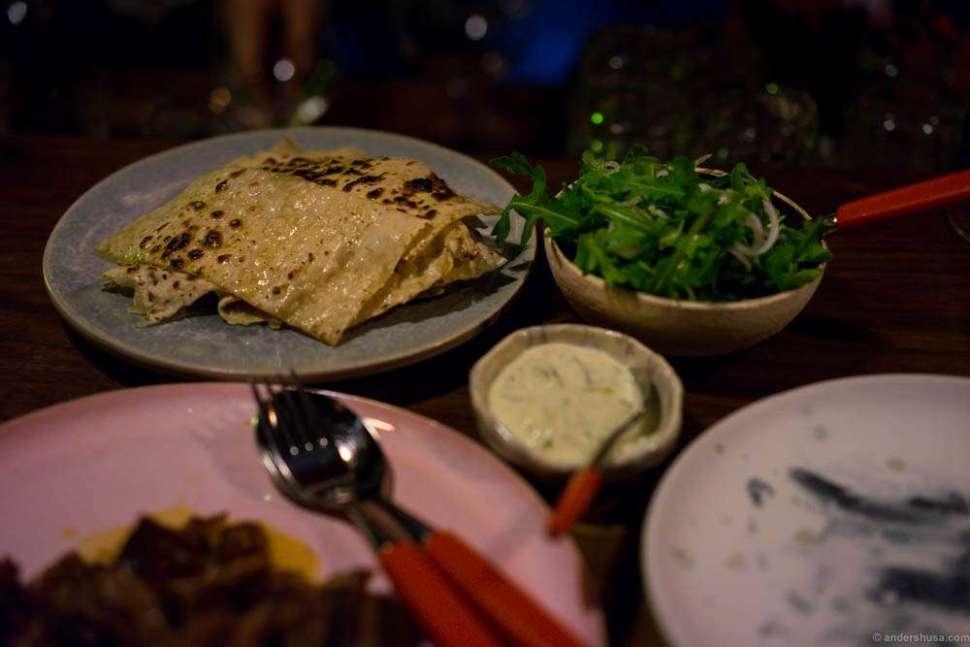 Garlic pancakes, confit lamb and tzatziki. This was heavenly good!