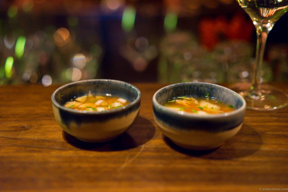 Fermented cabbage soup, chili and coriander