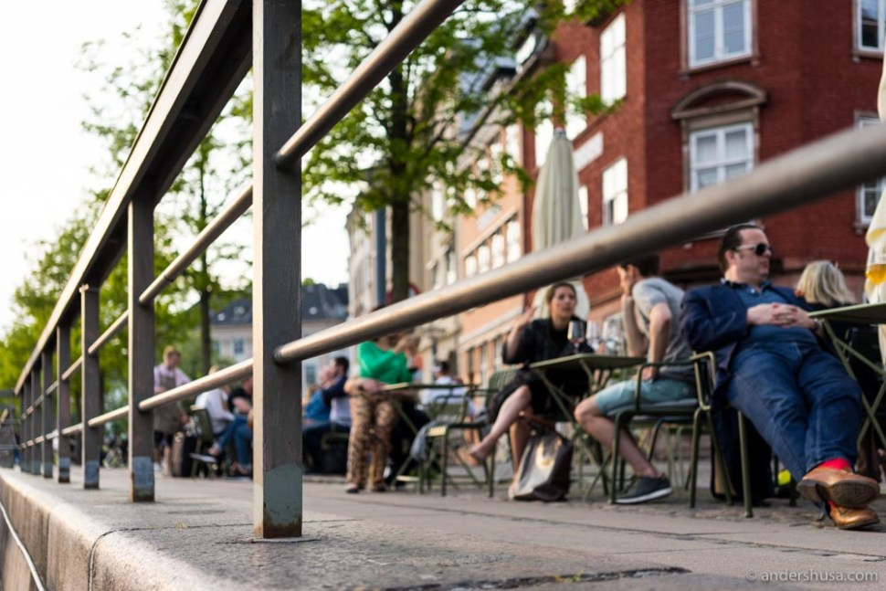 In the summertime, you can sit outside with a great view of the Copenhagen canal.