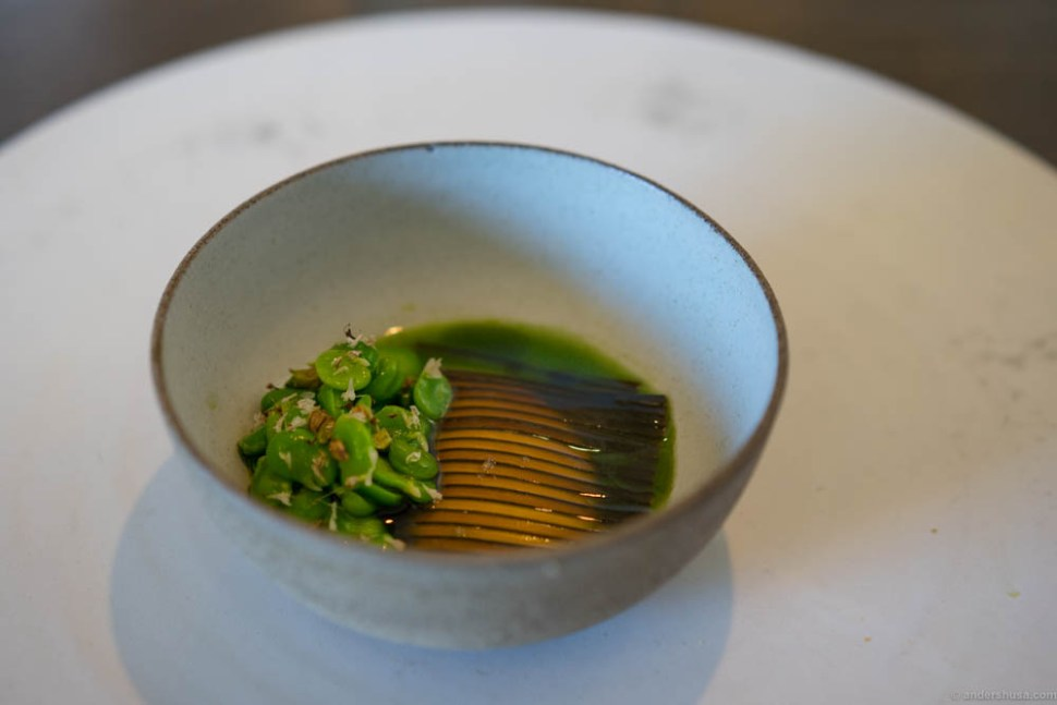 Sweet peas, milk curd and sliced kelp. A visually stunning dish, but not my favorite flavorwise