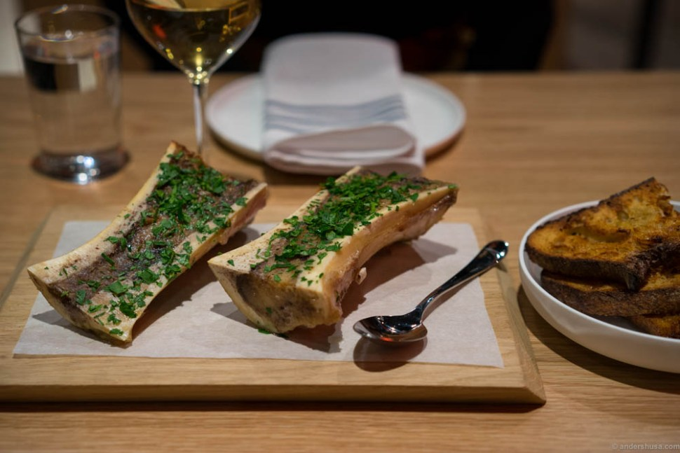 Bone marrow, parsley, and grilled sourdough bread.