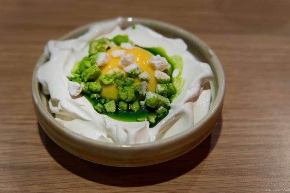 Lemon cream, meringue, laurel oil and yogurt soft ice cream.