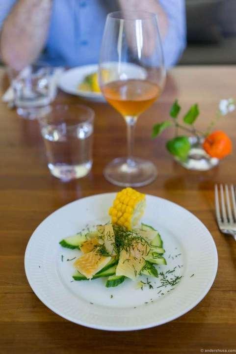 Traditional dried Danish flatfish with cucumber and corn