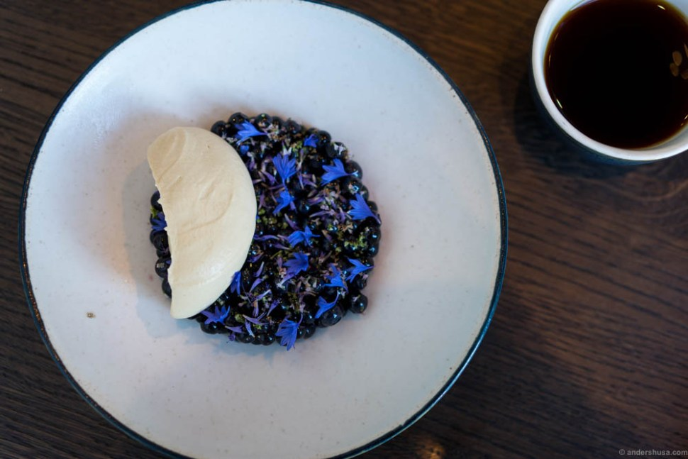 Wild blueberries with spices and a cream seasoned with toasted seaweed and ale
