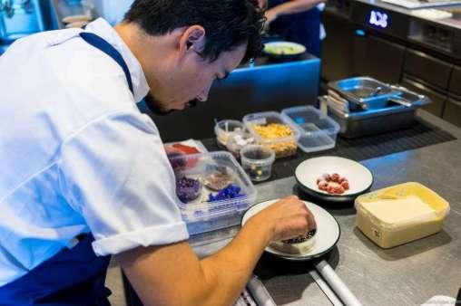 Plating the blueberry dessert