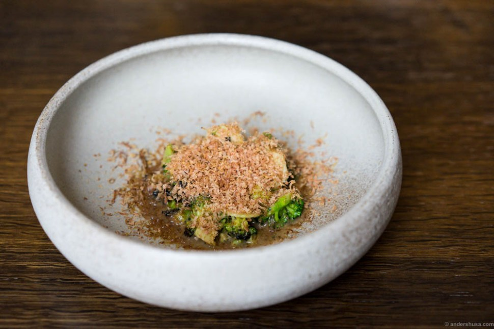 Broccoli, almond tofu, shaved, dried beef heart, and a vinaigrette of fermented cep mushrooms.