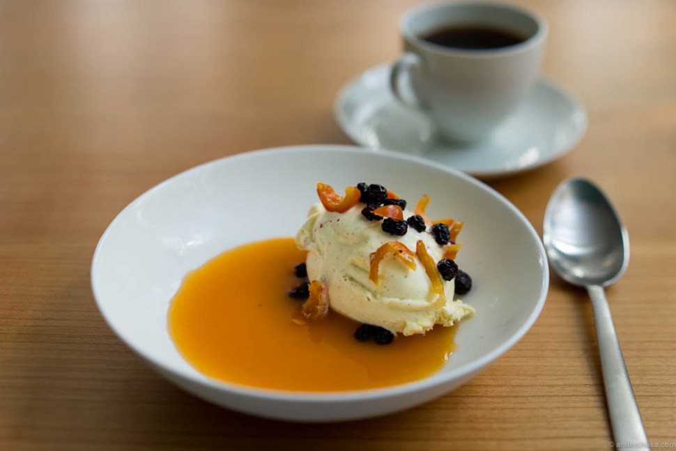 Vanilla ice cream, aronia, and rose hip.