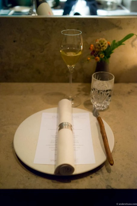 The table was set for another spectacular evening at Studio. Lassaigne Champagne in the glass