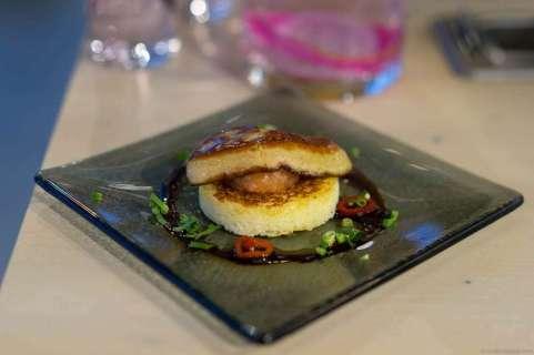 Pan-fried foie gras on brioche with guava & apple compote, lemongrass balsamic vinegar, Vietnamese parsley & chili