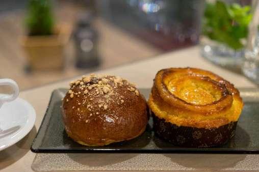Brioche with lemongrass & ginger, and coconut honey bun