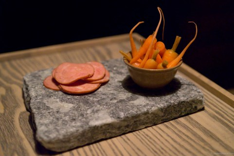 Pickled carrots and cooked salami