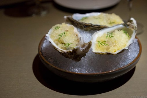 Fresh shucked oysters, calamansi granita & fresh wasabi