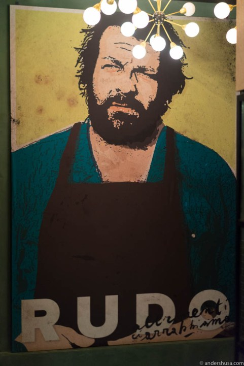 Spaghetti Western star Bud Spencer covers an entire wall at Rudo