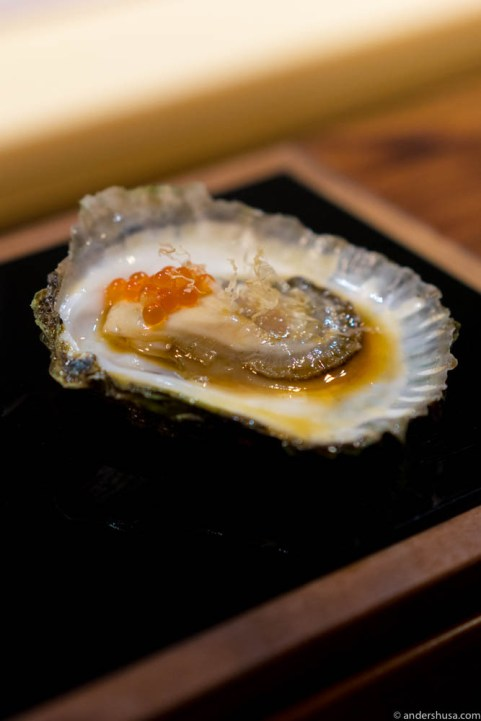 Flat oysters with yuzu ponzu, bonito flakes & trout roe