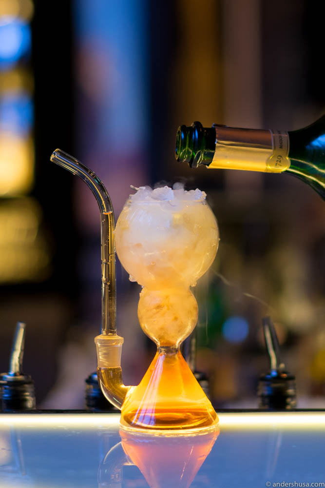 Hendricks / Becherovka / Vanilla Infused Sherry Blend / Cherry Vinegar Reduction / Champagne