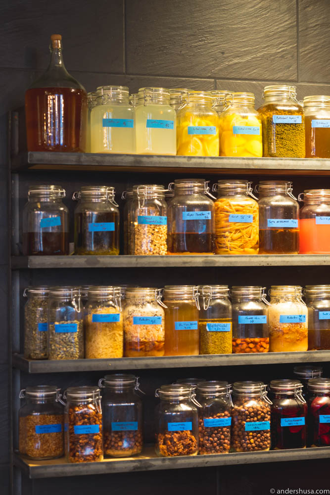 Shelves upon shelves of fermented ingredients.