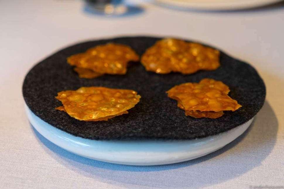 Beans, lemon verbena and roasted bird skins