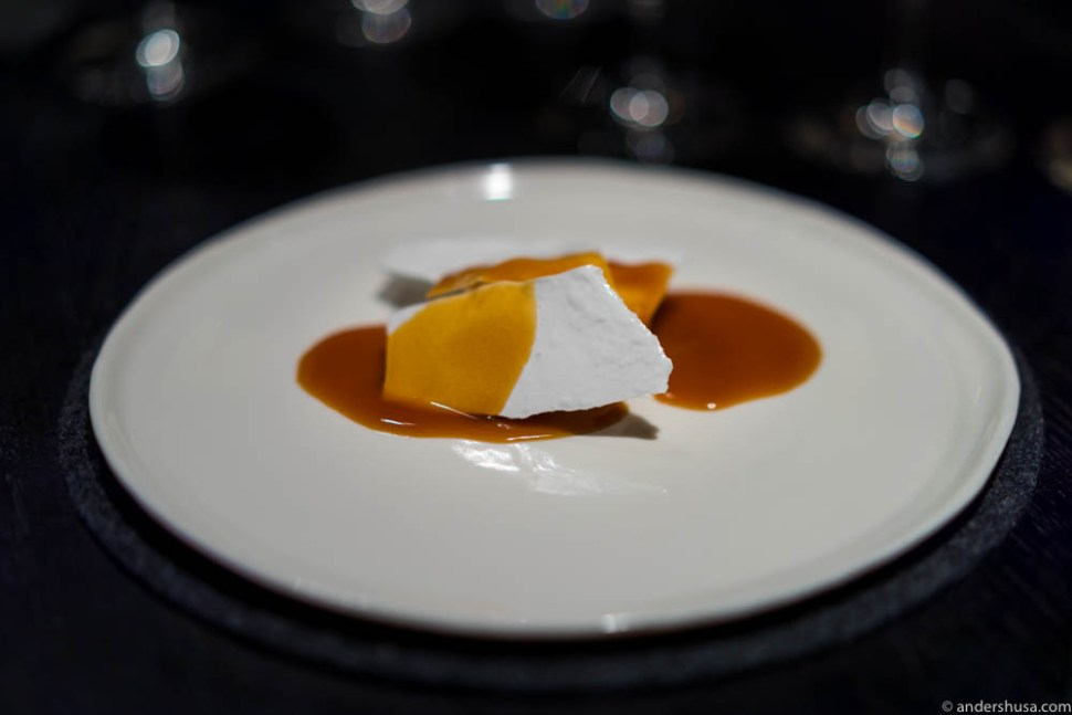 Salted egg-white, frozen buttermilk, and caramelized rosemary