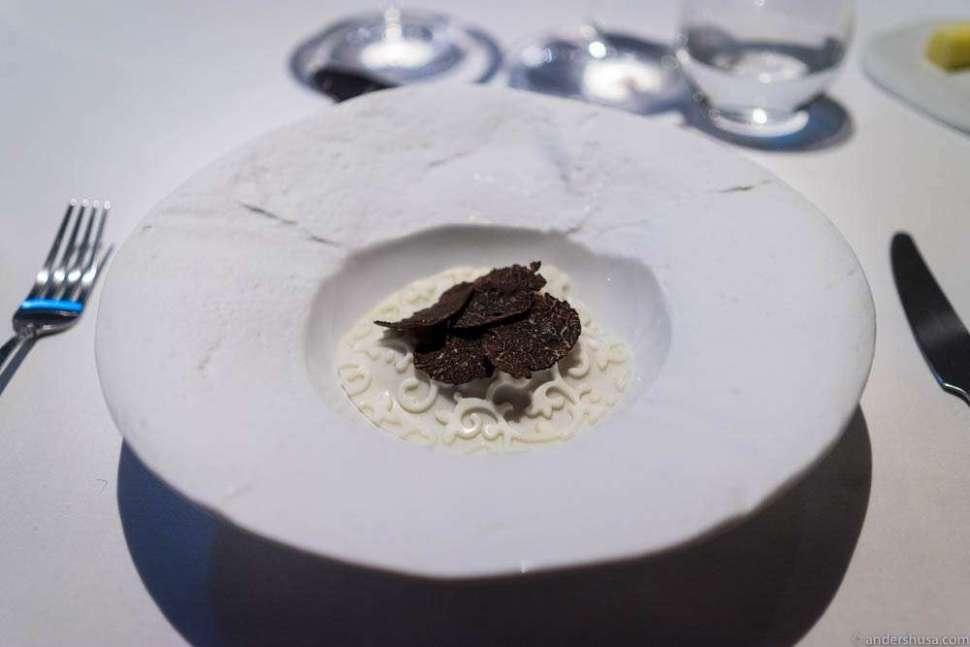 "Scallops ""Royale,"" milk skin, Ibérico ham, hazelnuts from Piedmont & black Périgord truffle."