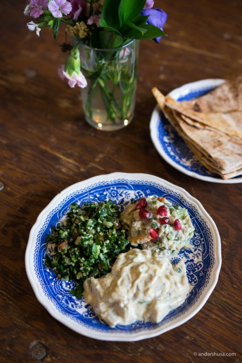Herring salad with baba ganoush, tabbouleh and Lebanese bread from Aleppo Bahebek